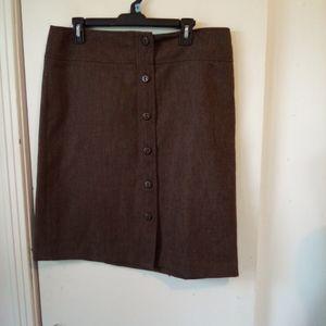 """Magaschoni  brown wool skirt 35"""" waist"""